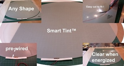 smart tint custom cut and pre-wired up to 1.5 sq. feet