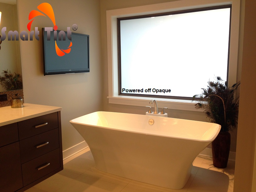 smart glass bathroom window