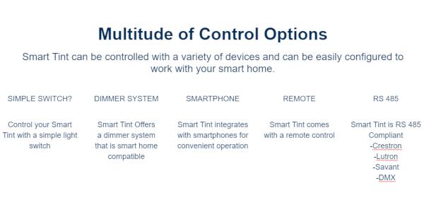 smart tint control options