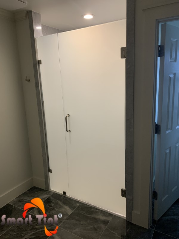 smart tint shower door powered off