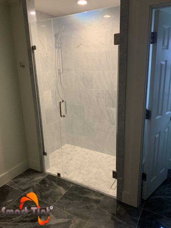 smart tint shower door powered on