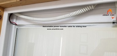 White power transfer cable designed to maintain operable power on door at all times.