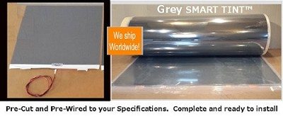 Grey SELF-Adhesive Smart Cling™ Smart Tint Switchable Privacy Film is easily applied wet or dry !  Go to www.howtoinstallsmarttint.com for installation details. Let us know your measurements and any special instructions in the comment section at check out. We will confirm all orders with in 24 hours of payment completion and prior to manufacturing.
