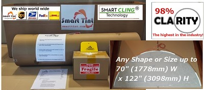 120v ac White Smart Cling® SELF-Adhesive Smart Tint™ custom cut and pre-wired up to 1.5 sq. feet