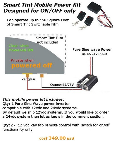 Smart Tint Mobile power Control - with Key Fab for ON/OFF only